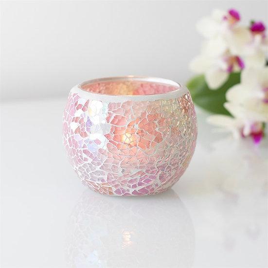 Pink Iridescent Crackle Glass Candle Holder 彩粉色碎紋玻璃蠟燭座