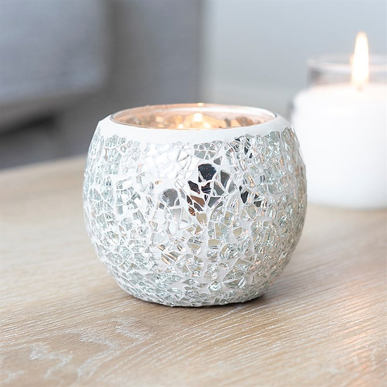 Silver Crackle Glass Candle Holder 銀色碎紋玻璃蠟燭座