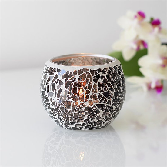 Gunmetal Crackle Glass Candle Holder 金屬灰色碎紋玻璃蠟燭座