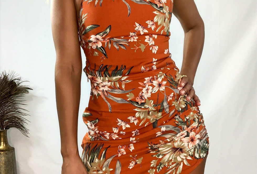 Tropical Open Back Dress