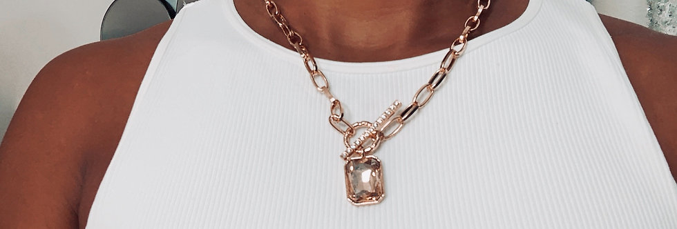 Toggle Chain Gem Necklace