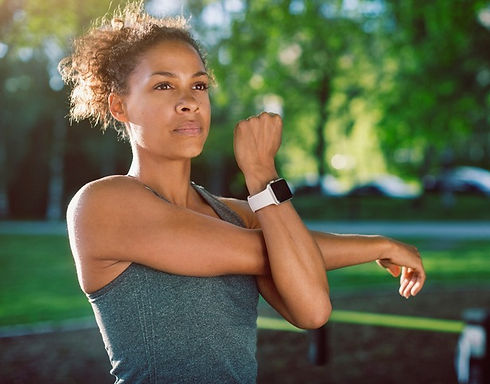 Woman with smart watch training