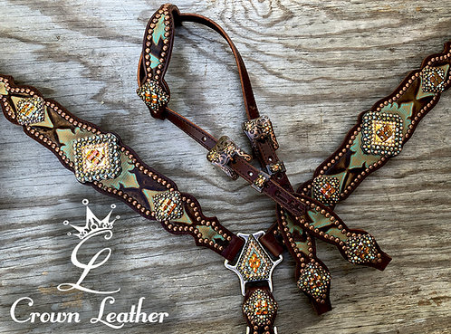 2014 Turquoise & Brown Laredo Tack Set