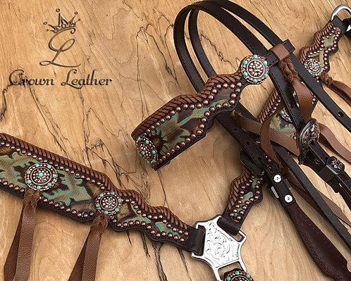 2015 Style Turquoise & Brown Laredo Edge Braided Tack Set
