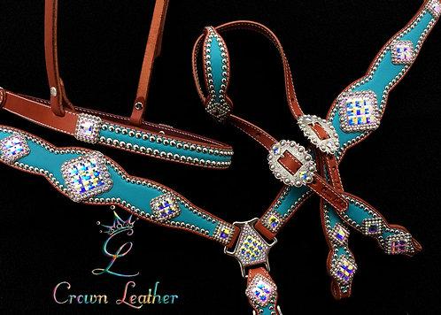 2014-1 Style Turquoise & AB Crystal Tack Set