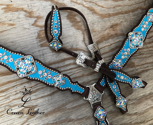 2014 Style Tack Set with Pearl Turquoise Blue Overlay