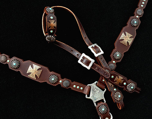 2010 Style Copper & Turquoise Maltese Cross Tack Set