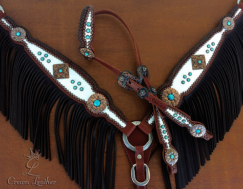 2012 Style White Edge Braided Fringe Tack Set