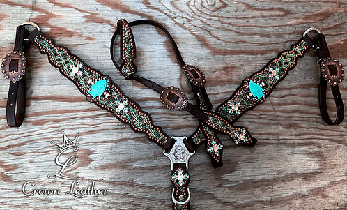 2014 Turquoise Basketweave Arrowhead Tack Set
