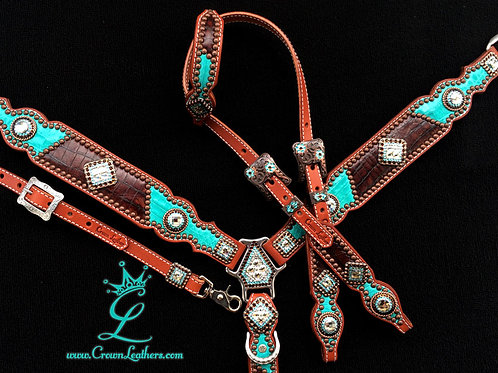 2013 Style Turquoise & Brown Croc Tack Set
