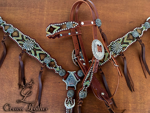 2014 Style Turquoise Brown Laredo Blood Knot Tack Set