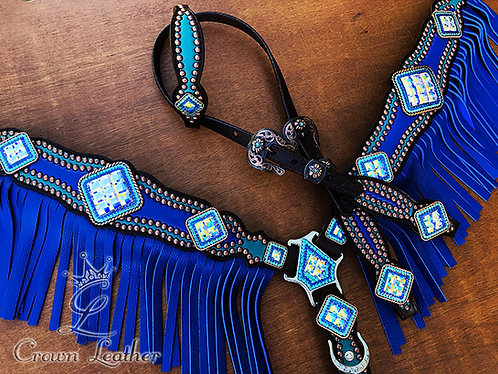 2014 Style Royal Blue & Turquoise Fringe Tack Set