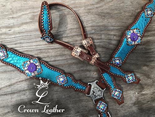 2014 Style Turquoise Mystic & Purple Indian Tack Set