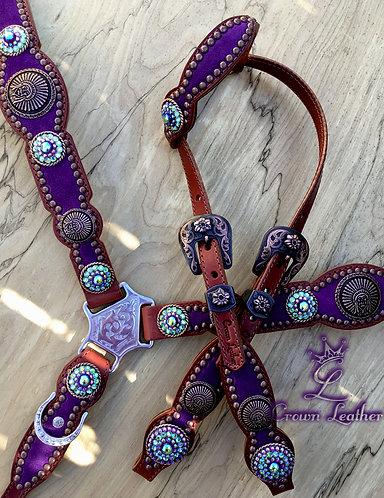 2011 Style Purple Suede Tack Set