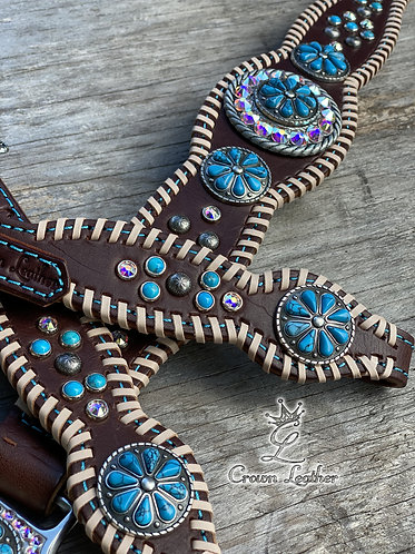 2014-1 Turquoise Stone & Natural Whipstitch