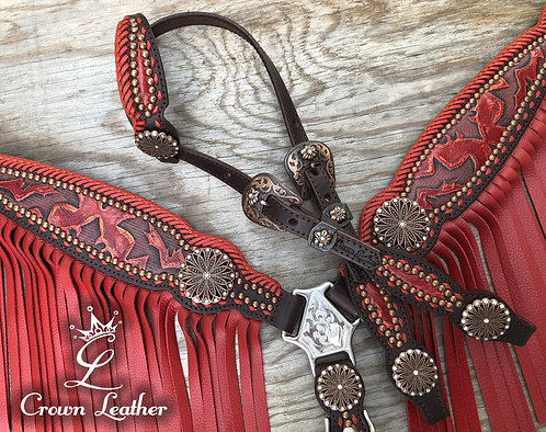 2012 Style Red Laredo with Red Fringe & Edge Braiding  Tack Set