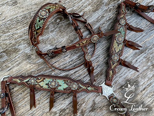 2015 Style Turquoise & Brown Laredo Edge Braided Tack Set