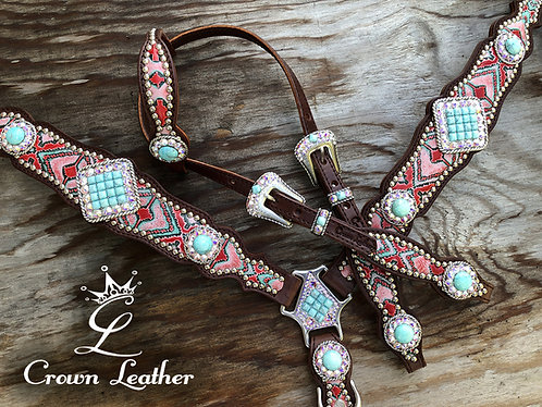 2014 Style Tack Set with Mint Coral Navajo & Turquoise Stones