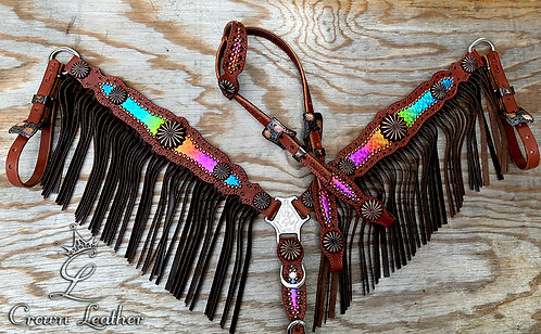2014 Style Rainbow with Brown Fringe & Buckstitch Tack Set