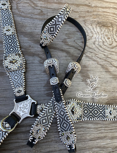 2020 Style Black & Silver Diamond Whipstitch Set