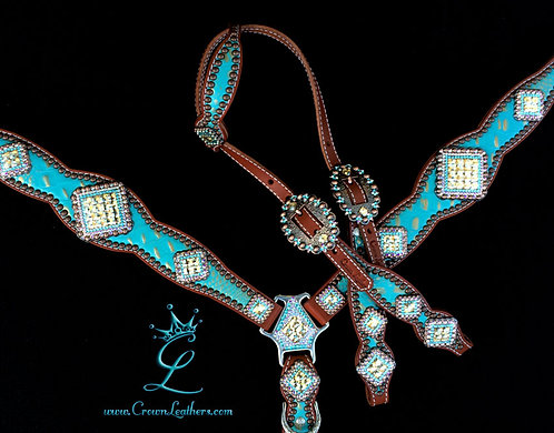 2014-1 Style Sky Blue Gold Tipped Gator Tack Set