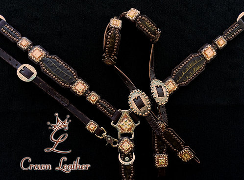 2010 Style Bronze Gold Tipped Croc Tack Set