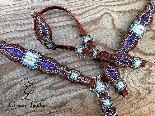 2018 Style Tack Set with Purple Mystic & Turquoise Buckstitch
