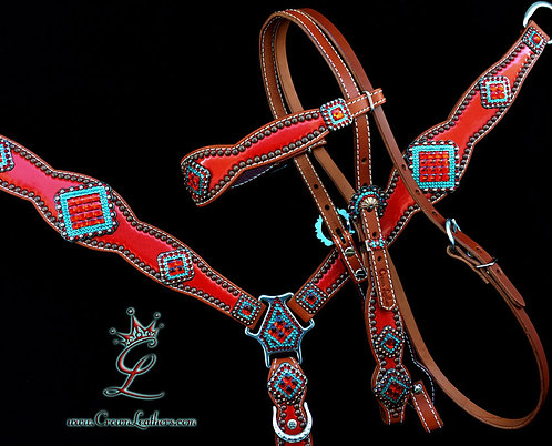 2014-1 Style Red & Turquoise Tack Set