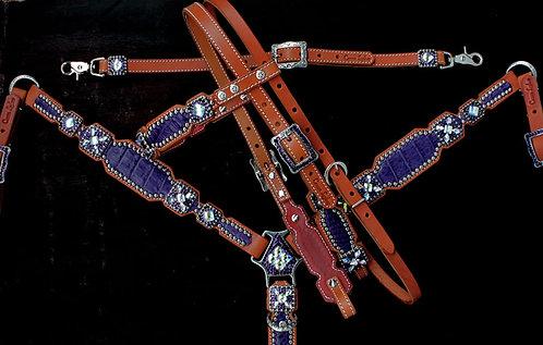 2010 Style Purple Caiman Tack Set