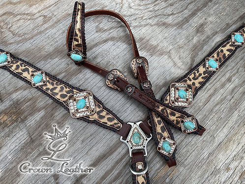 2020 Cheetah Turquoise Stone Whipstitch