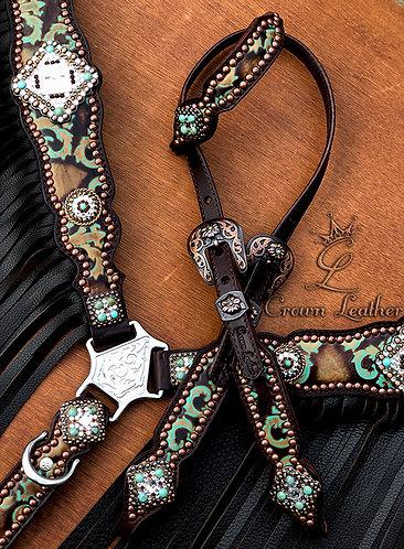 2014 Style Turquoise & Chocolate Corona Fringe Tack Set