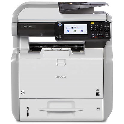 This versatile multifunctional printer packs a lot of features into a compact design. Printing at 40 black-and-white A4 page per minute and at 1,200 by 1,200 dpi the SP 4510SF combines speed with quality output. With the single pass duplex scanner the SP 4510SF can scan both sides of an original colour document in a single pass for fast distribution to e-mail, folder, USB, FTP, SMB, or URL. The advanced GWNX controller offers sophisticated functionality previously available only from premium priced systems.