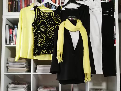 Jeans i sort og hvid - tilsat lidt gult