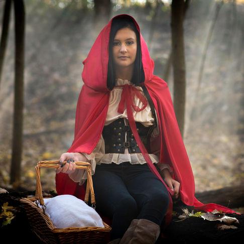 Little Red riding hood, costume, halloween, forest, fog