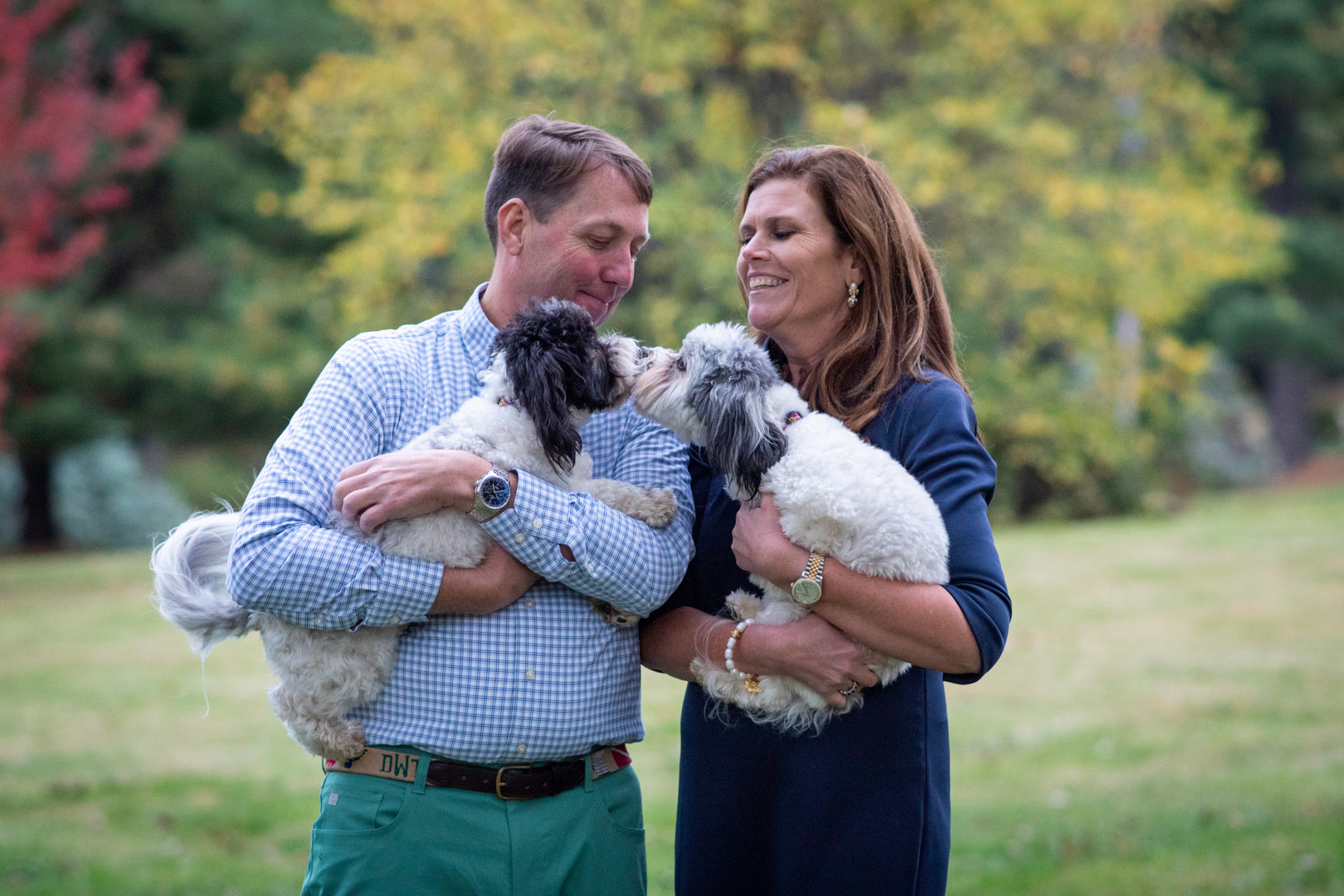 family dog couple fall