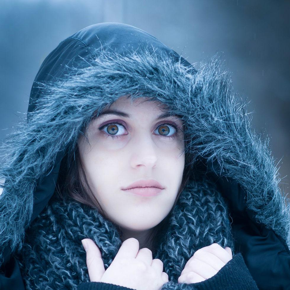 girl in the snow, hazel eyes, winter, coat