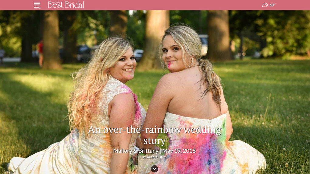 Brides, trash the dress session, Tower Grove Park, St. Louis, featured in STL Best Bridal magazine.