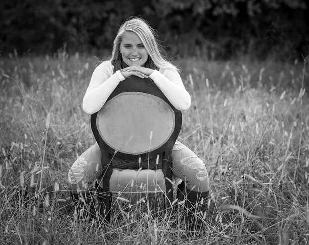 high school senior girl field black and white