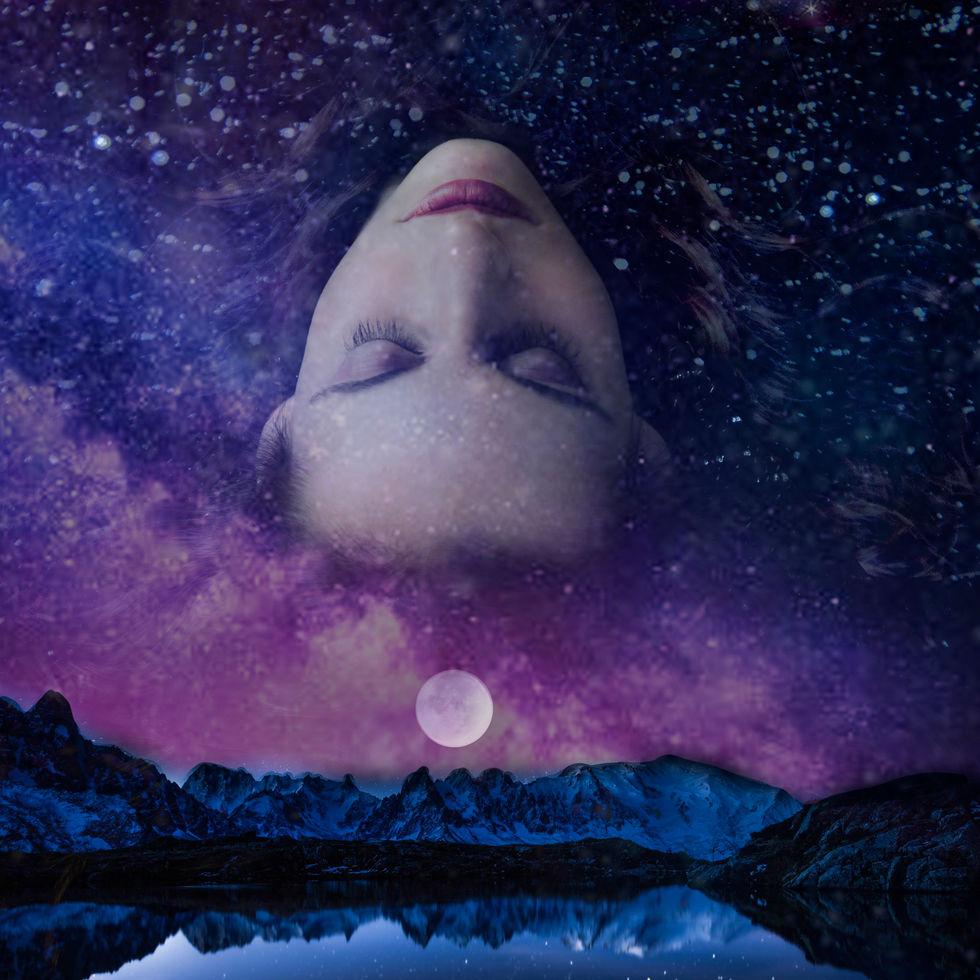 space, zodiac, floating, moon, lake, mountains, pink, purple.