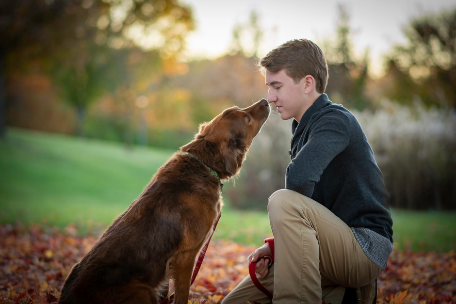 boy high school senior dog fall sweater