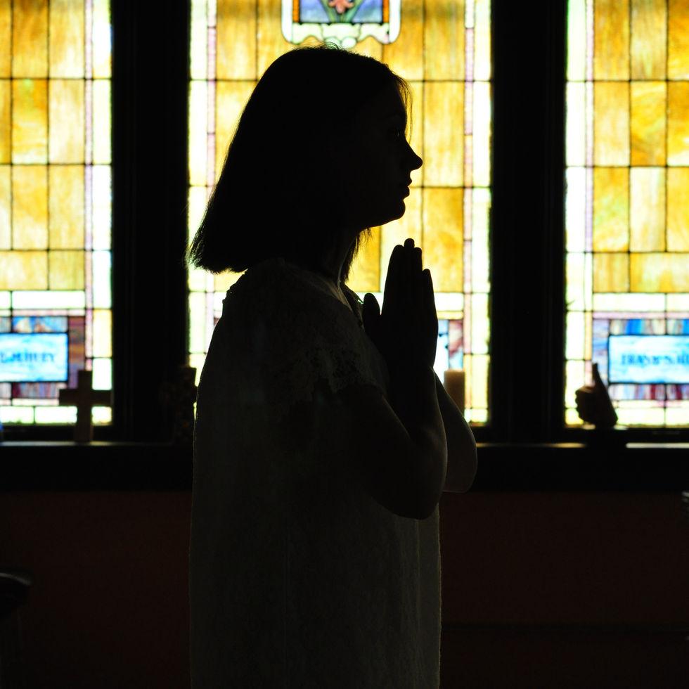 church, silhouette, pray, stained glass, faith