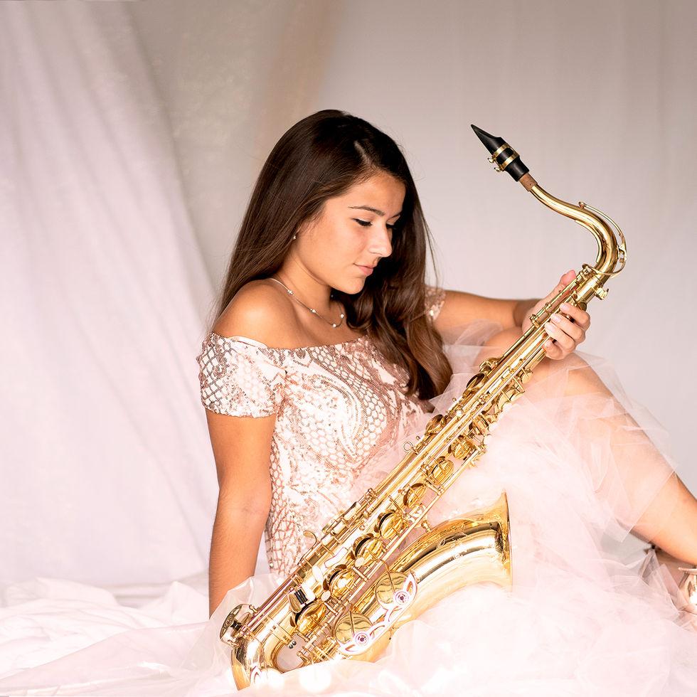 girl, pink, saxophone, fashion, heels, gold, brown hair, dress, sparkle, music, senior