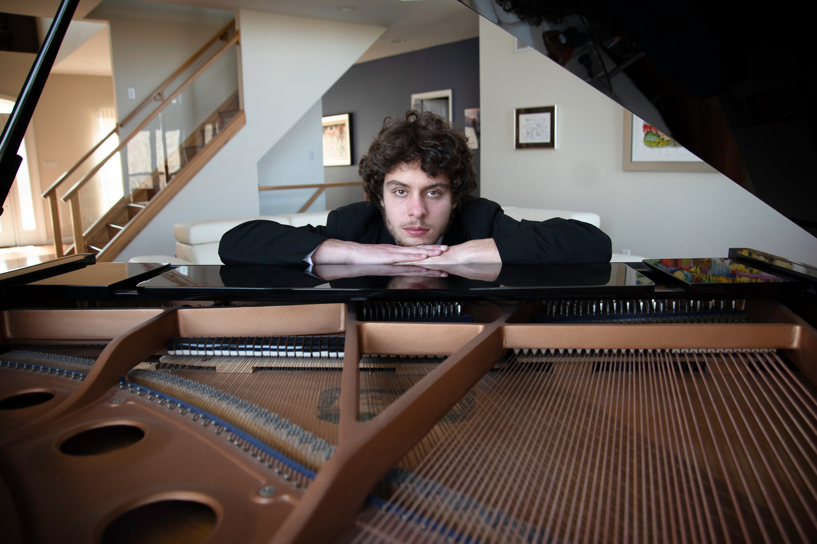 high school senior guy piano