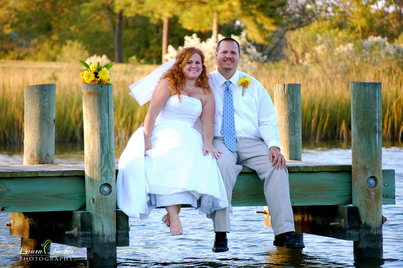wedding, park, bride, groom, dock, lake, cake