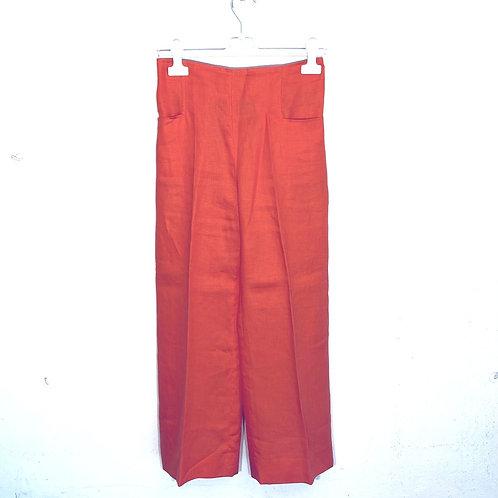 Pantaloni lino arancio donna