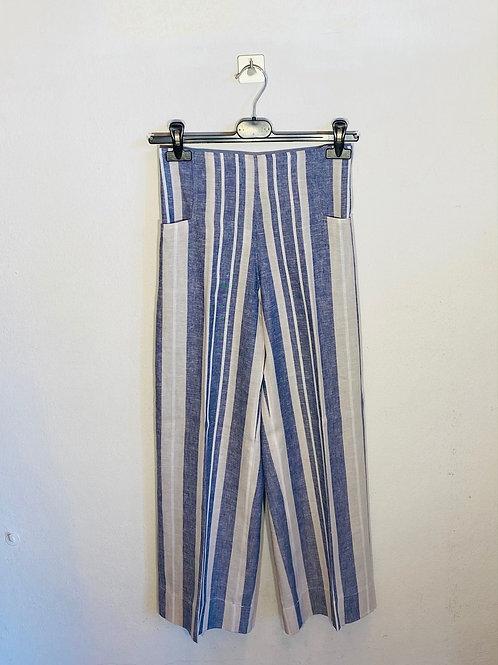 Pantalone donna lino a righe
