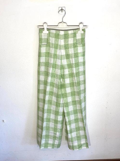 Pantalone donna lino quadrettoni