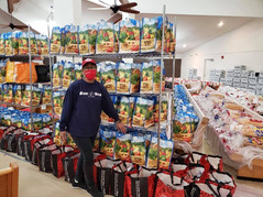 We're ready for our Thanksgiving Food Basket distribution tomorrow. Well, almost. We still have work to do in the morning but we are well on our way. Donations of stuffing, corn bread mix, cranberry sauce, mac & cheese and gravy are still welcome. Say a little prayer that we meet the demand of over 500 request.