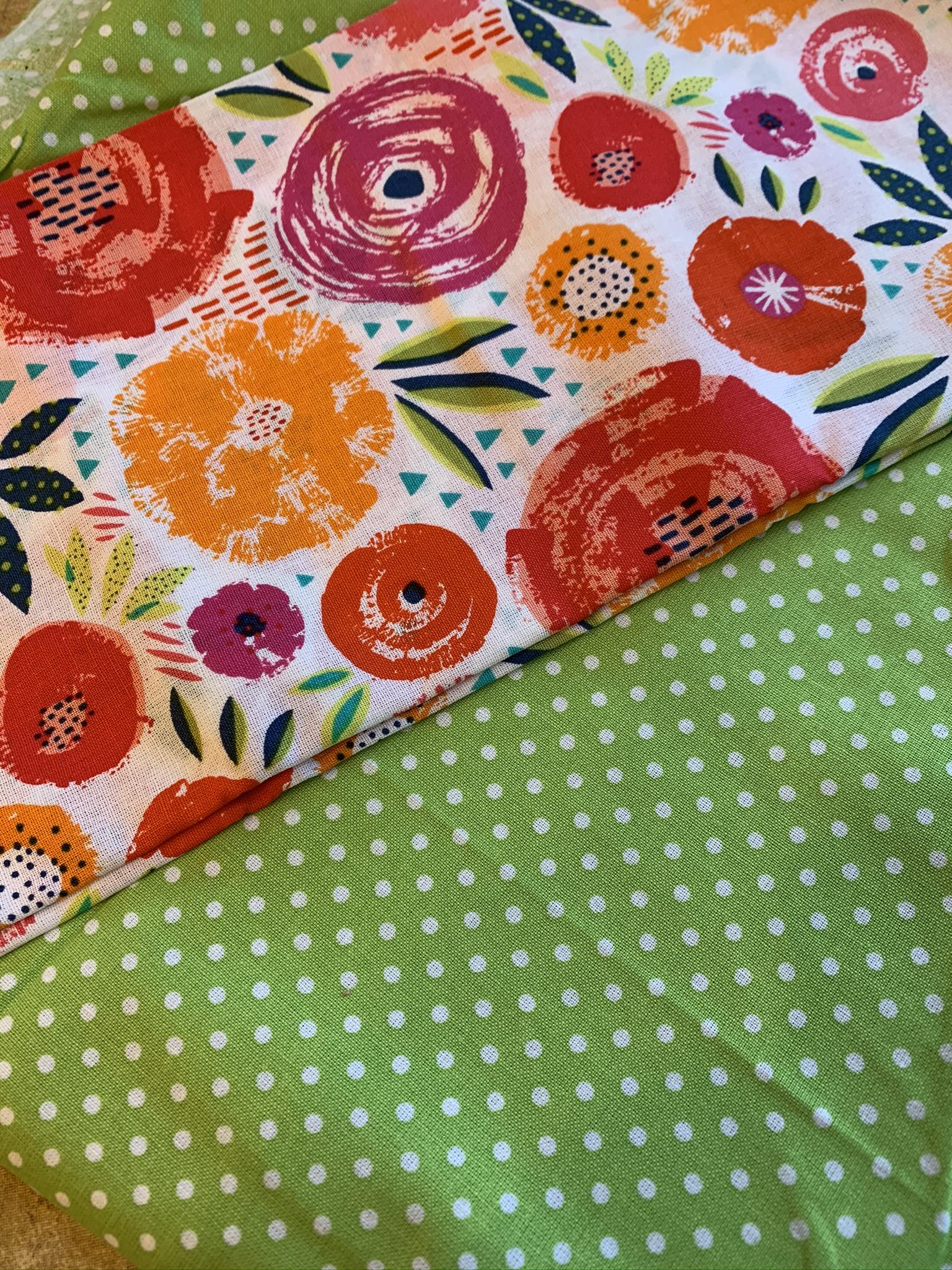 Bold Flowers & Lime Polka-Dots