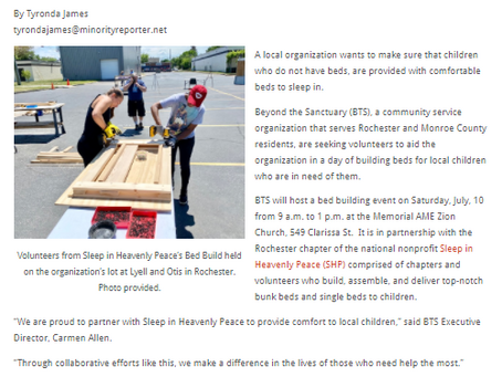 Important Community News: Bed Building Event for Families in Need